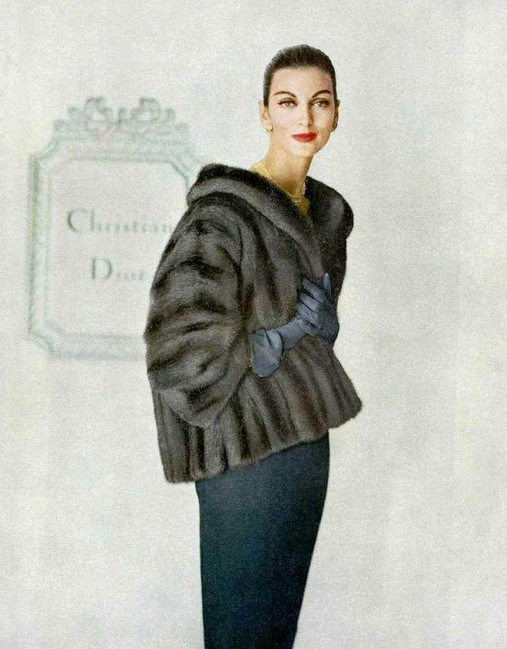 1958 - Carmen Dell' Orefice in Lutetia EMBA mink jacket by Christian Dior, photo by Virginia Thoren,