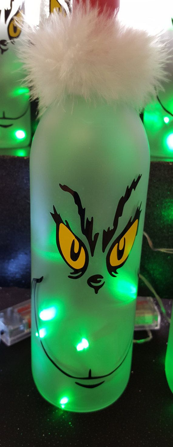 Grinch Lighted Wine Bottle by LightingUpMain on Etsy