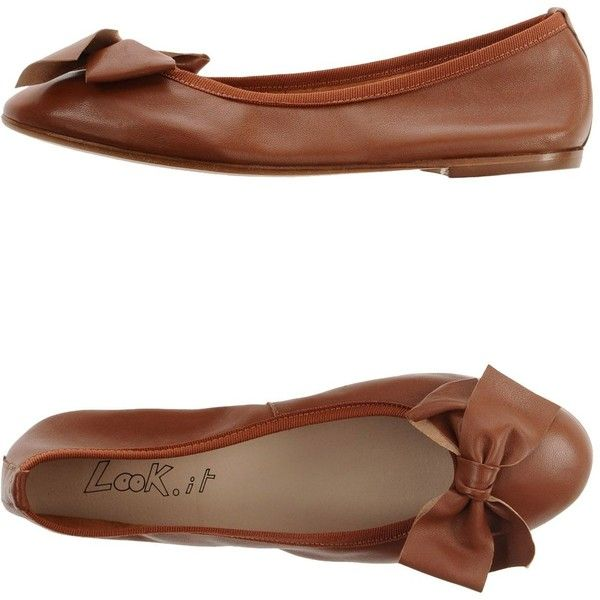 Look.it Ballet Flats ($47) ❤ liked on Polyvore featuring shoes, flats, brown, leather shoes, brown flats, brown ballet flats and ballerina shoes