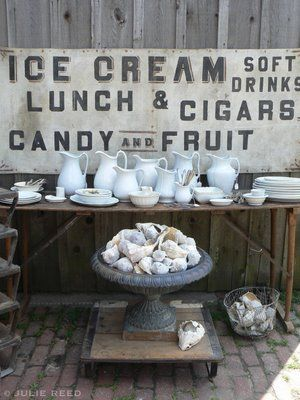 white loveWhite Collection, Barns Workshop, Decor Vintage, Vintage Signs, Beautiful Shells, Old Signs, Interiorstylist Vintagedecor, Vintage Stylists, Vintage Decor