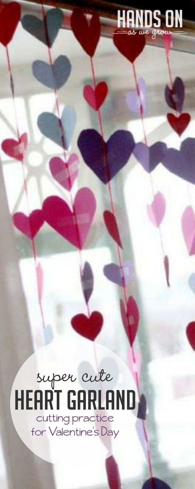 Heart garland for a Valentine's Day is great fine motor practice for preschoolers to cut out hearts and tape up together hearts! via @handsonaswegrow