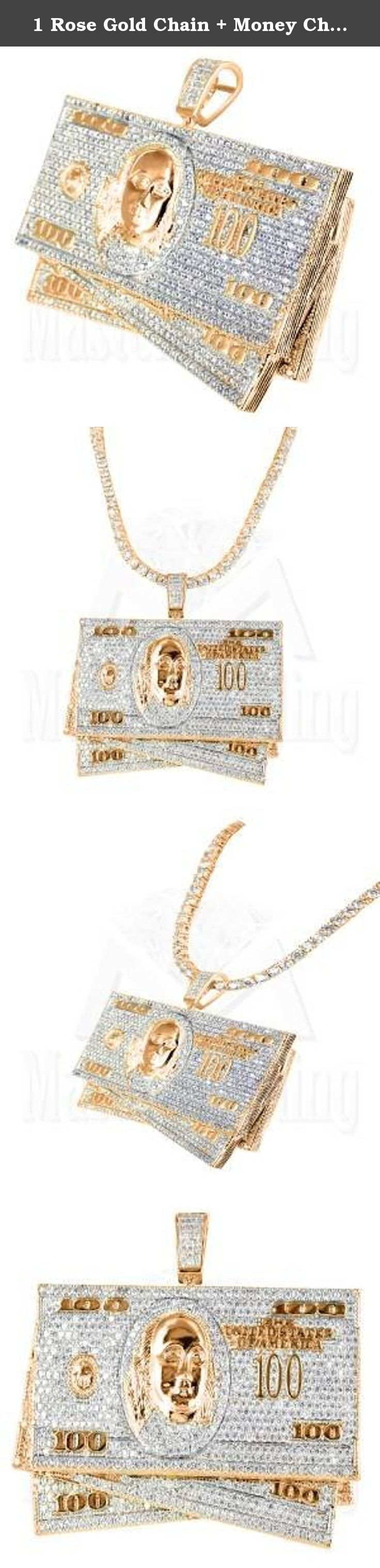 1 Rose Gold Chain + Money Charm Pendant For Mens Sale New Hip Hop. - 100 Dollar Bill Pendant + Rose Gold Chain - Simulated Diamond - Color: 14k Rose Gold Finish You Get FREE SHIPPING With This Purchase We specialize in custom jewelry. If you can think it, we can make it!.
