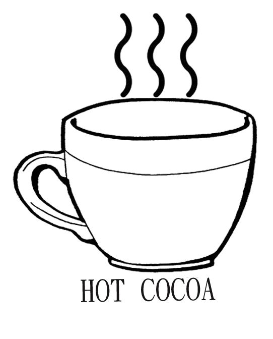 Drinking Hot Chocolate Cocoa Coloring Page