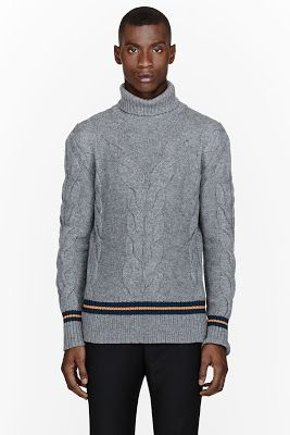 Mcq Alexander Mcqueen Grey Striped Cableknit Turtleneck Sweater
