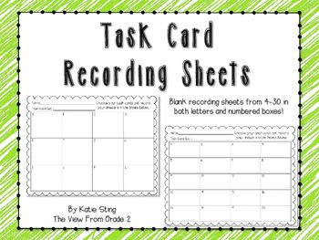 Do you ever get stuck without a recording sheet for your kids? Have too many being turned in to keep straight? Use this blank recording sheet to fit the needs of any task card set!Blank recording sheets are provided with both lettered and numbered box options.