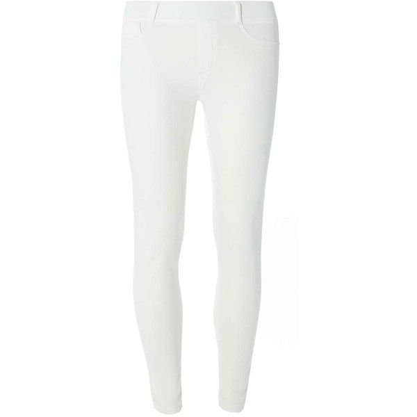Dorothy Perkins White 'Eden' Capri Ultra Soft Jeggings ($29) ❤ liked on Polyvore featuring pants, leggings, white, white denim leggings, white capris, white pants, cotton capris and white cotton pants