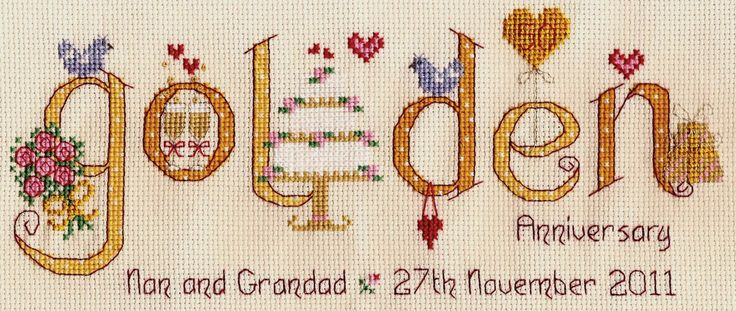 This delightful cross stitch kit is a touching way to celebrate a couple�s 50th Golden Wedding anniversary. The unique design features the word ...
