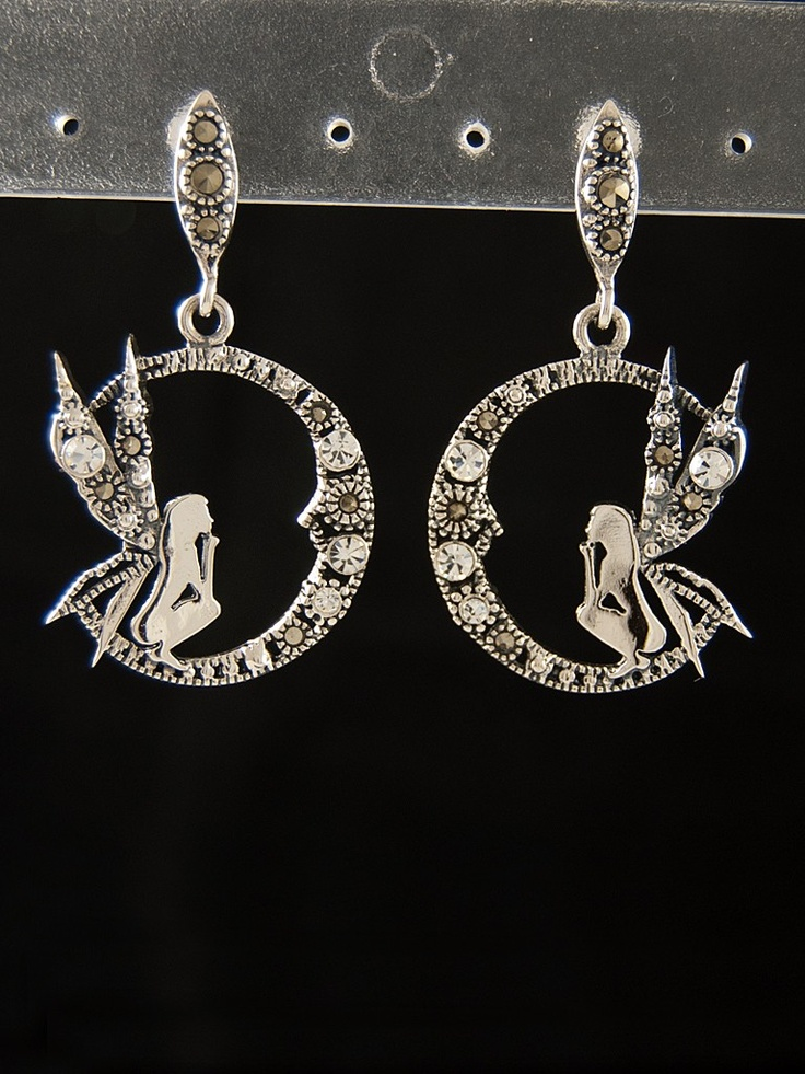 Stříbrné náušnice 925 punc, markazit, křišťálové sklo, víla. 55-565-1506
