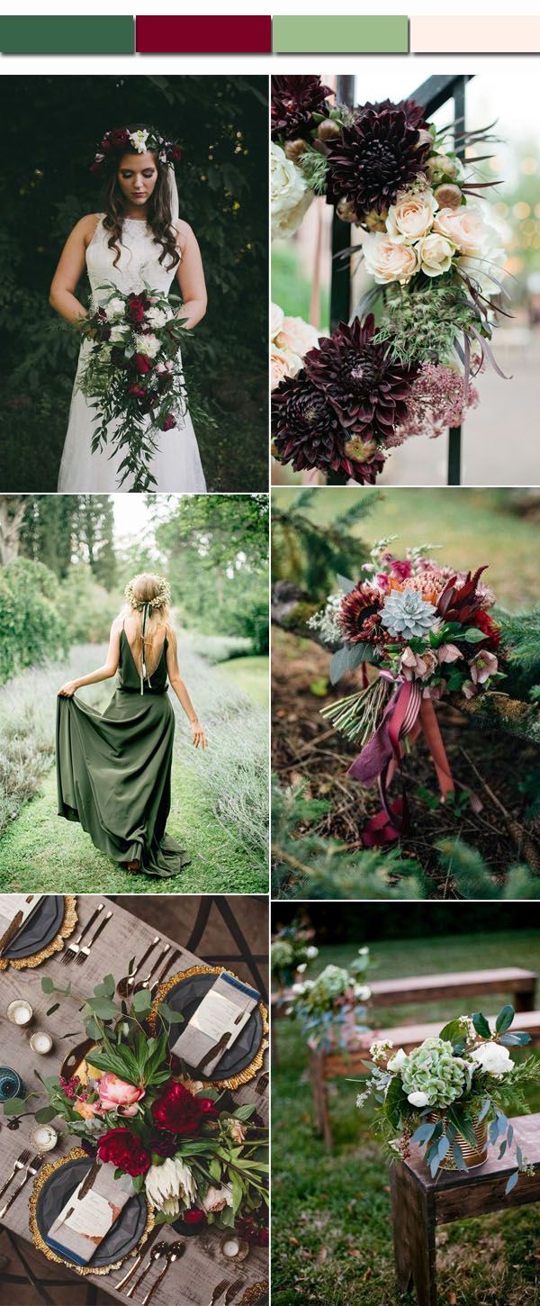Perfect 4 Fall Wedding Color Palettes and Matched Wedding
