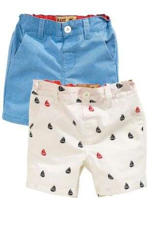Buy Two Pack Boat Print And Blue Chino Shorts (3mths-6yrs) from the Next UK online shop