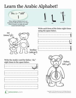 Kids get to learn Arabic calligraphy by writing the letter Alif with this cute worksheet that also helps develop Arabic vocabulary.