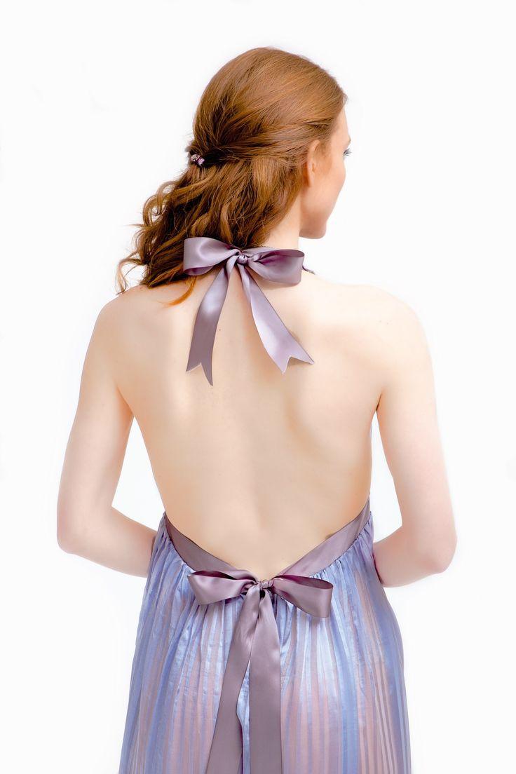 Lavender striped silk dress details