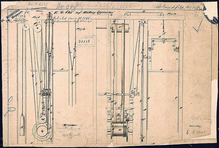 A Brief, Interesting History of the Otis Elevator Company,Elisha Otis' elevator patent drawing, 15 January 1861. Via <a href='https://creativecommons.org/licenses/by-sa/3.0/'>Wikimedia</a> Commons.