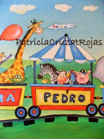 Patricia Cruzat Artesania y Color: Tren con Animales, mural.