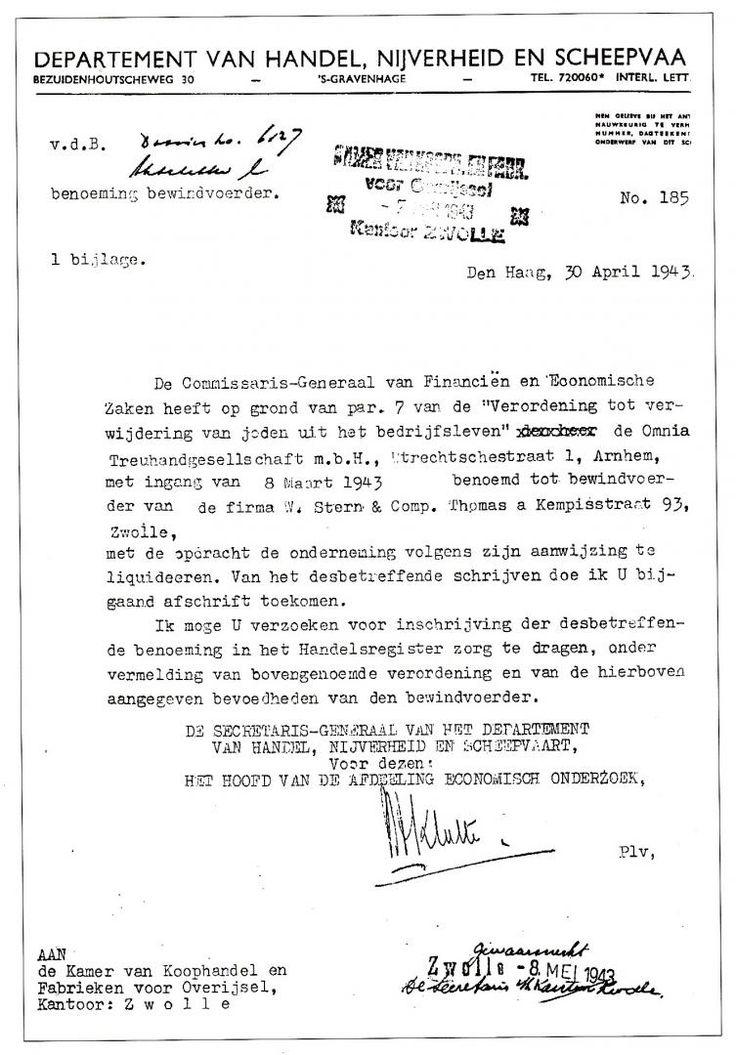 """De liquidatie op basis van de """"Verordening tot verwijdering van joden uit het bedrijfsleven"""" april 1943. Afbeelding: Kamer van Koophandel Zwolle."""