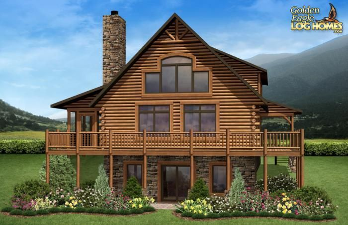 Log homes and log home floor plans cabins by golden eagle for Log cabin floor plans with walkout basement