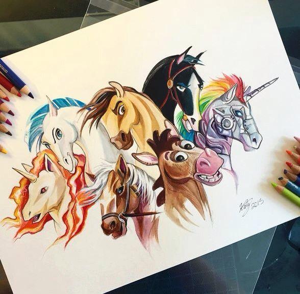 #Dessin #Horse #Unicorn #Disney #Colorful