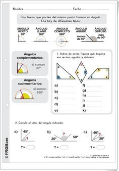 """""""Tipos de ángulos"""" es una bonita y sencilla ficha de trabajo, de Pipoclub.com, sobre tipos de ángulos según su medida."""