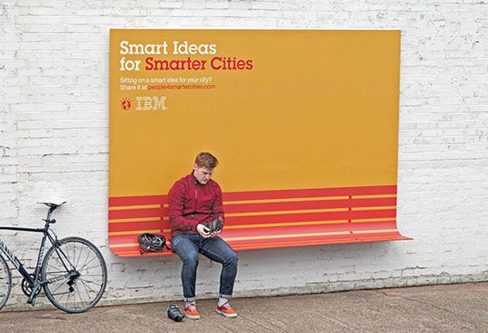 ... somewhere to sit... Created as part of IBM's 'People for Smarter Cities' ethos, they double as a shelter, a seat and a ramp. Adding something as simple as a curve really gives these one-off posters a practical and inventive edge.