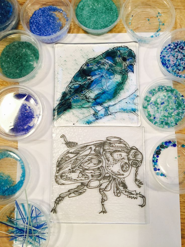 Fused glass drawings