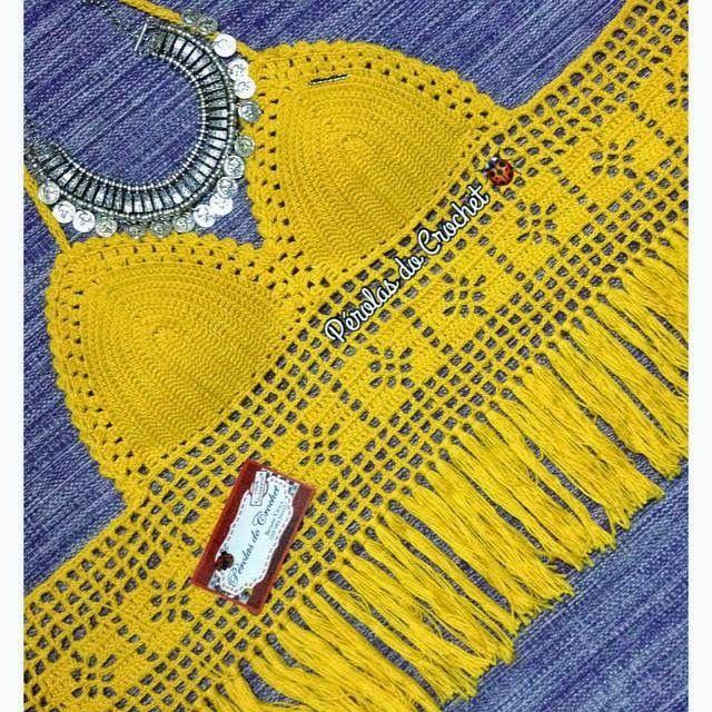 * Pérolas do Crochet: Cropped top em crochet com franjas