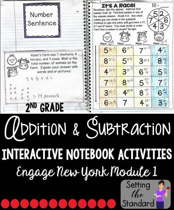 Interactive Notebook for Module One of Engage New York math curriculum Grade 2. Focus on strategies such as mental math and decomposing numbers when adding and subtracting within 100. Each lesson is supported by a critical thinking word problem- allowing them to explain their mathematical thinking, new vocabulary introduced in that lesson, and an activity for students demonstrate understanding.