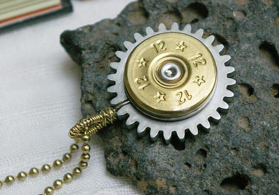 Shotgun Shell Bullet Pendant Salvaged Steel Gear Steampunk