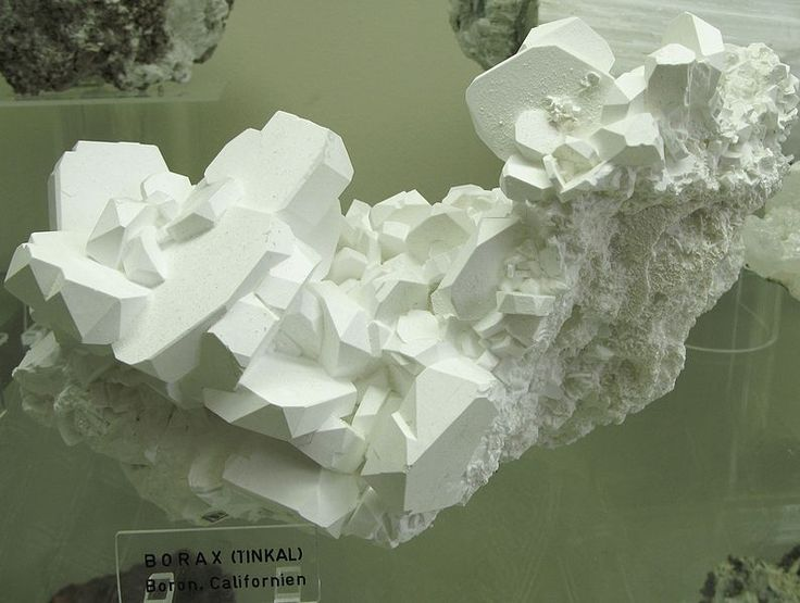 Borax, Na2B4O7•10H2O - Locality: Boron, Californien, USA - Exposed in the Mineralogical Museum, Bonn, Germany