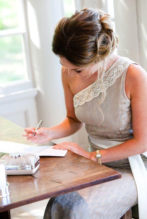 Nervously preparing for a rare bridesmaids speech.