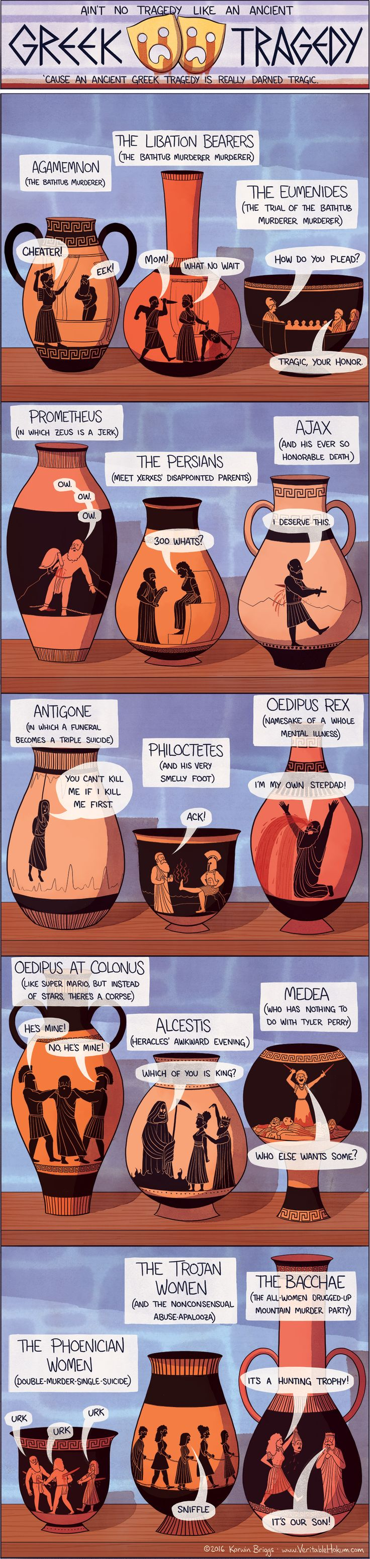 The Bacchae one is especially apt. Also, for Agamemnon: She didn't care about the cheating so much. She cared that he SENT THEIR DAUGHTER TO BE SLAUGHTERED so they could have good wind for the ships. Bit of a difference there. Still, this infographic is awesome. // Ain't No Tragedy Like An Ancient Greek Tragedy