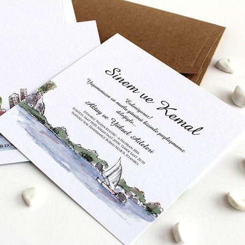 Marina - Deniz temalı düğün davetiyesi