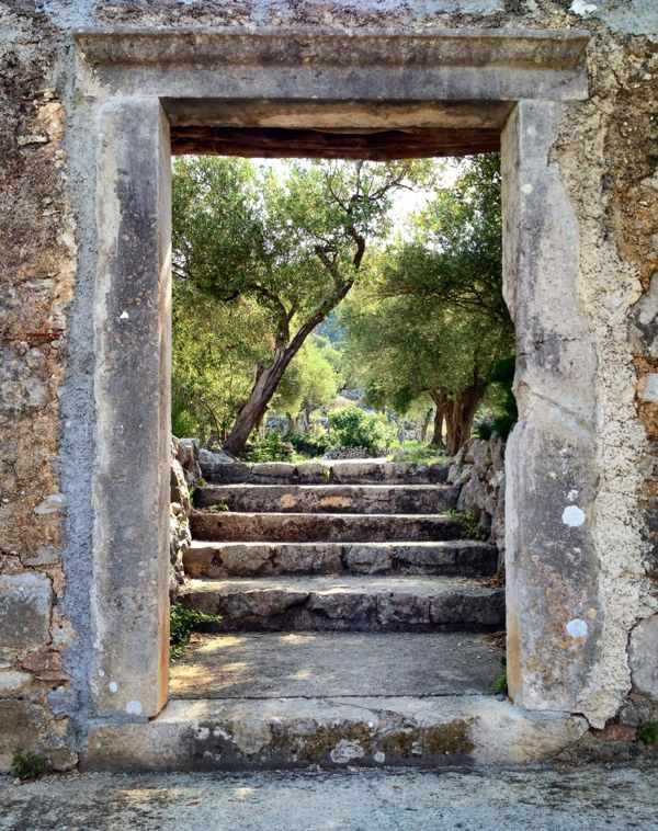 View of olive trees through old stone doorway~ Cres, Croatia