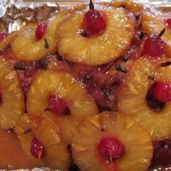 Baked Ham with Sweet Glaze - I searched a while until I found THE baked ham recipe for Easter dinner.  The boiling water is the key to keeping your ham moist and with a few tips from youtube on how to carve and add the pineapple and cherries, it became a work of art as well as tasty.  ~V