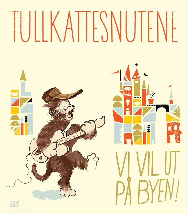 Illustrations - Klipp og Lim  #cat #guitar #childrensmusic #coverart #tullkattesnutene #spellemanspris