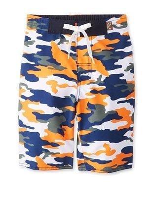 62% OFF Charlie Rocket Boy's Camo Swim Short (Orange)