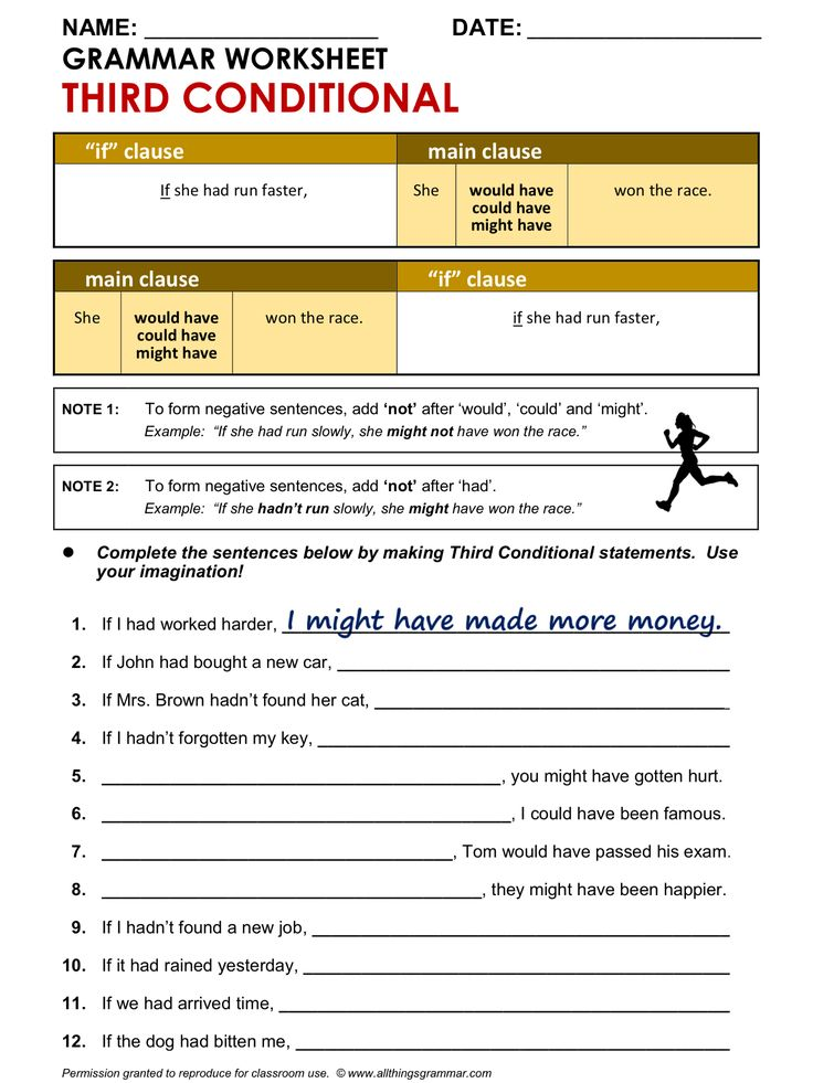 English Grammar Worksheet, Third Conditional 1/2. http://www.allthingsgrammar.com/third-conditional.html