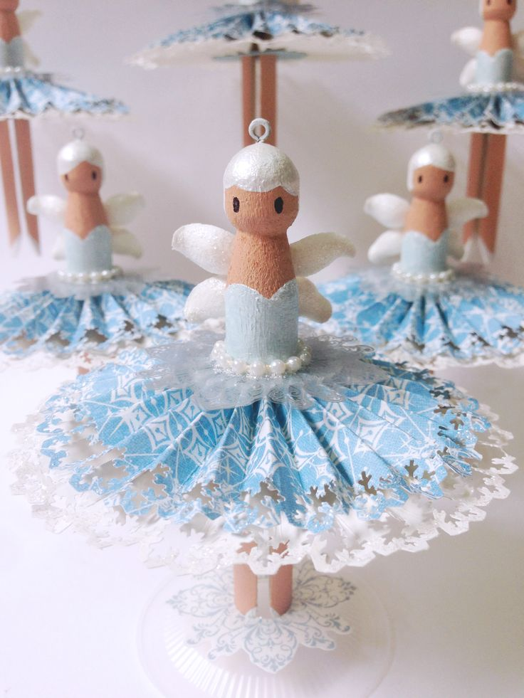How to Make Snowy Dolly Peg Fairies by Katie #graphic45 #g45handmadegifttutorials