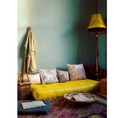 bohemian reading nook with cheerful yellow