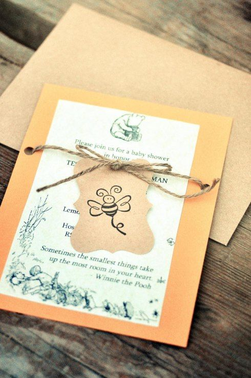 Rustic and Classic DIY Winnie the Pooh Baby Shower Invitations