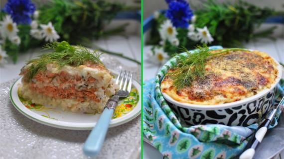 Запеканка из лосося с рисом под бешамелем и сыром