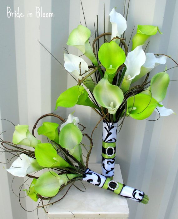 Calla lily Wedding Bouquet real touch lime by BrideinBloomWeddings, $70.00