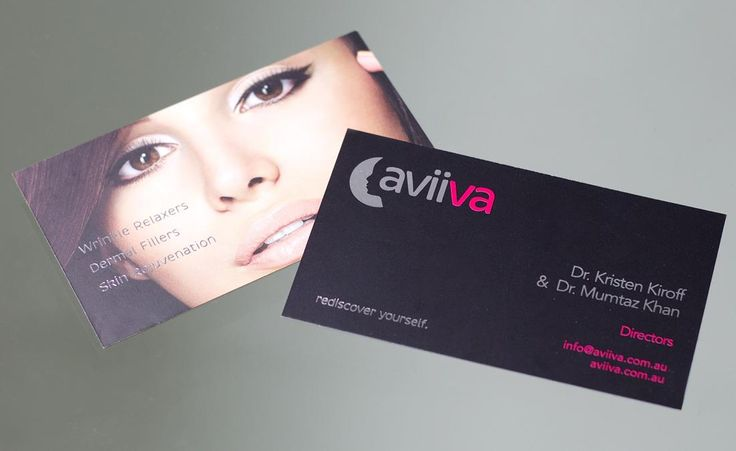 Business cards designed by Think Studios for Aviiva. Spot varnish and foil print finishing on black matt card. branding, logo design, business cards