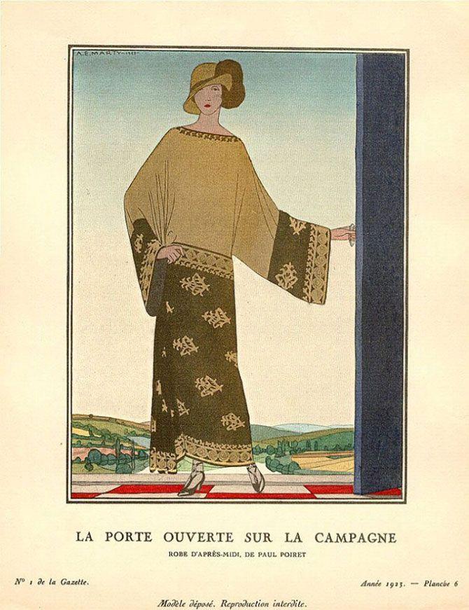 Andre Edouard Marty - La porte ouverte sur la campagne - Robe d'après-midi de Paul Poiret - 1923