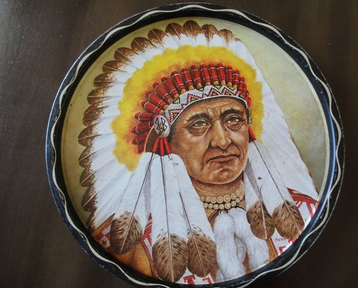Native Chief Vintage Metal Tray Signed TIN O.W. Stunning Colors & Details