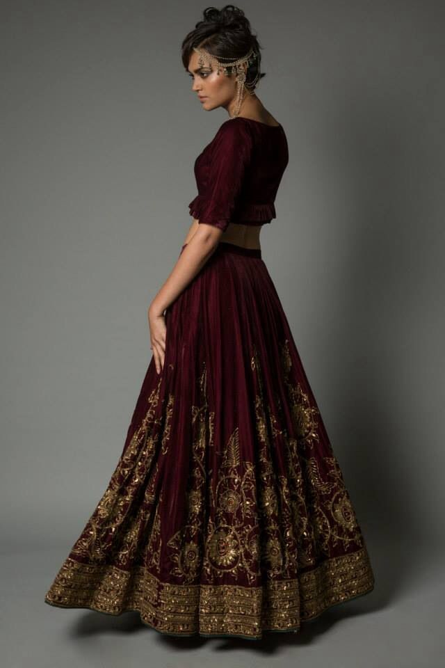 Neeta Lulla maroon lehenga www.thewedding-hut.co.uk
