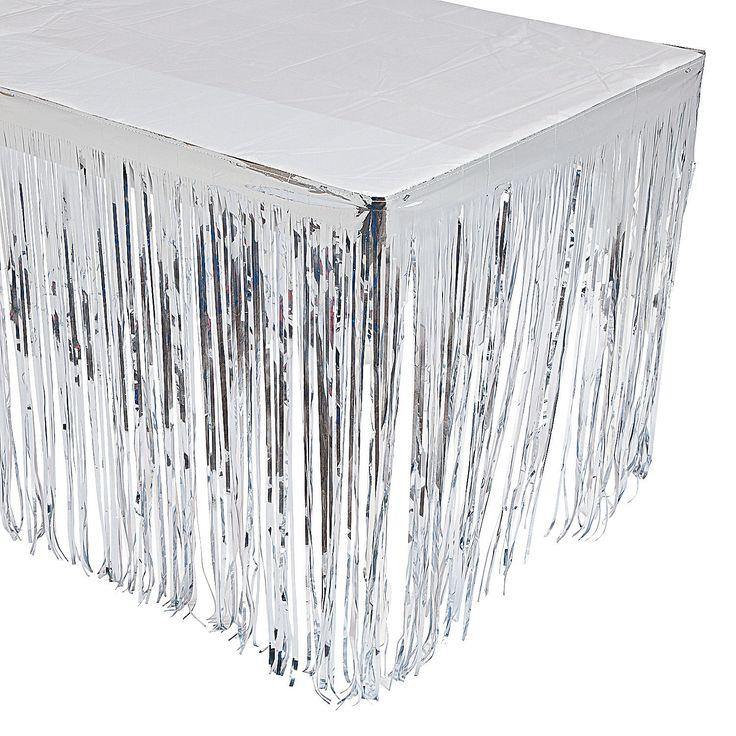Silver Fringe Table Skirt - OrientalTrading.com