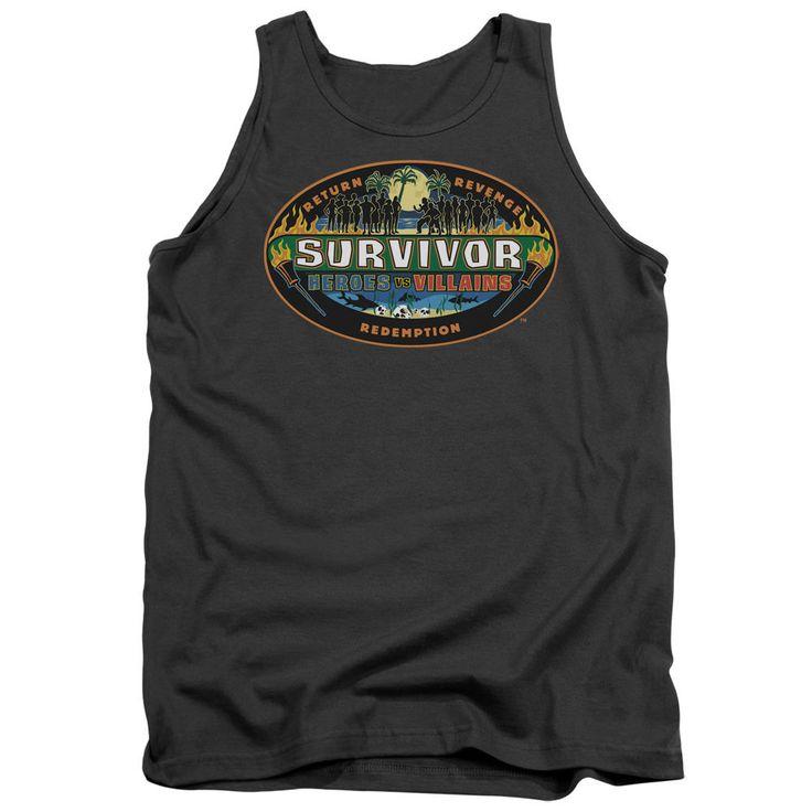 Survivor Heroes vs. Villains Charcoal 100% Cotton Tank-Top T-Shirt