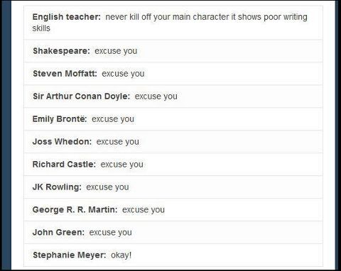 My English teacher told us this and we pulled out Shakespeare and JK Rowling