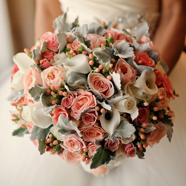 Vintage-inspired bouquet of peonies, roses, lab's ears, calla lillies & coral berries // photo: Jess + Nate Studios