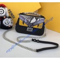 6cb8a6c283 Fendi Double Micro Baguette in Black and White Leather and Elaphe with Bag  Bugs Detailing